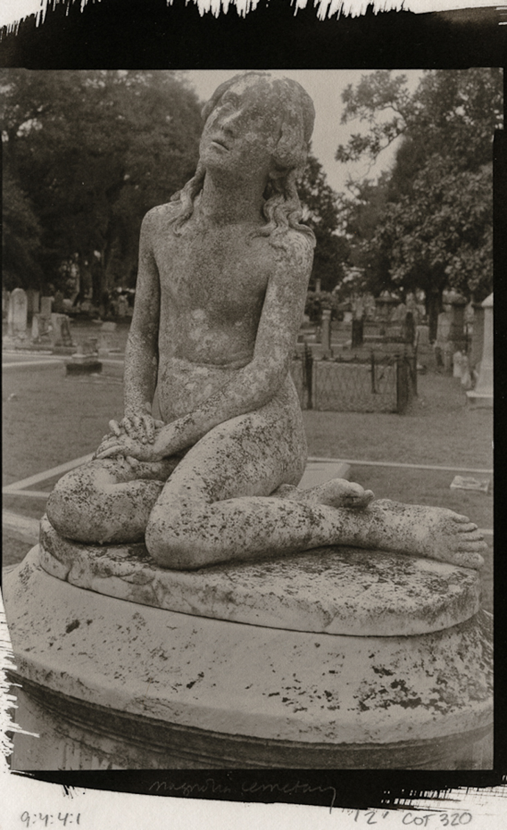 Girl seated, Magnolia Cemetery, Charleston,  SC: Platinum Print